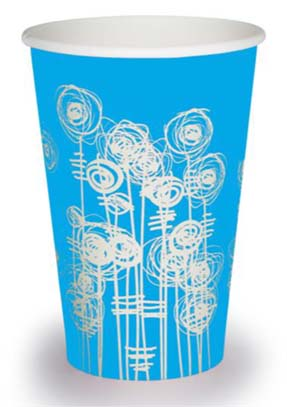 7oz 'Aqua Swirl' Tall Paper Water Cups